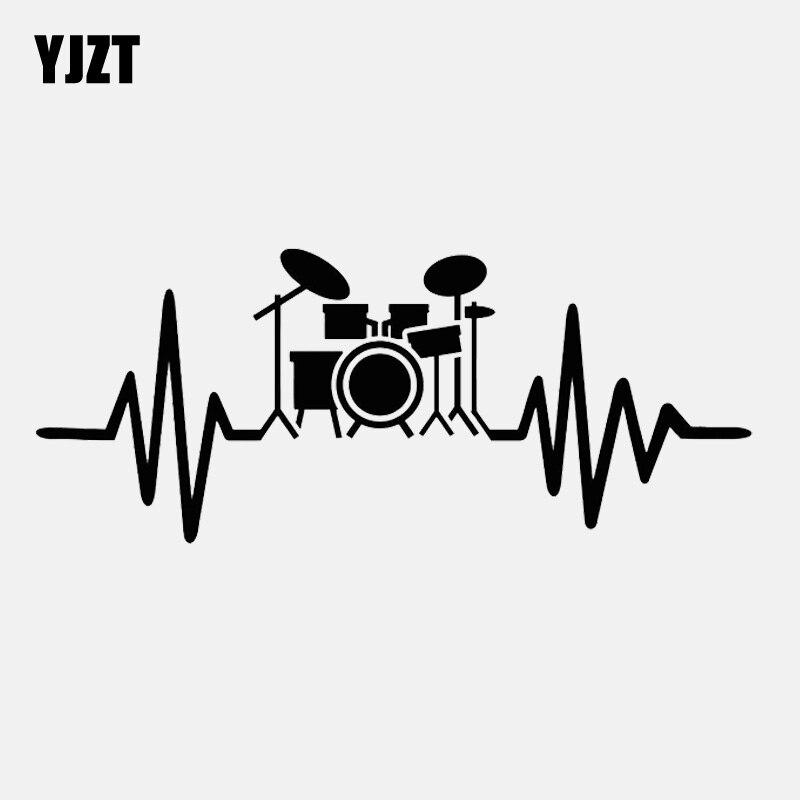 YJZT 15.1CM*6.2CM  Drum Kit For Drummer Musician Rock Music Lover  Vinyl Car Sticker C22-0778