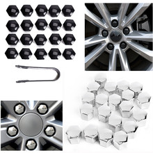 64b3642dafd Universal 20pcs 17/19mm Car Chrome Covers Bolt Caps with Removal Tool Wheel  Nuts