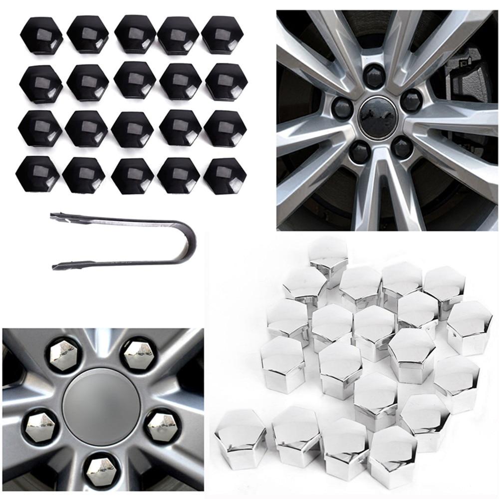 Set 20 17mm Chrome Car Caps Bolts Covers Wheel Nuts For Ford Galaxy MK1 MK2
