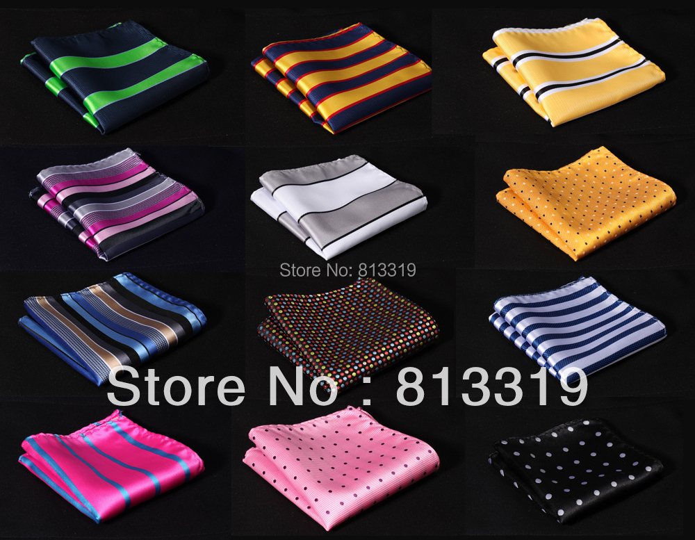 Men Silk Satin Handkerchief Pocket Square Hanky Stripe Color Wedding Party