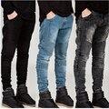 Motociclista Jeans 2016 mens denim jeans motociclista zipper hetero homens strech qualidade slim fit clássico jeans azul calça jeans motociclista barato hip hop