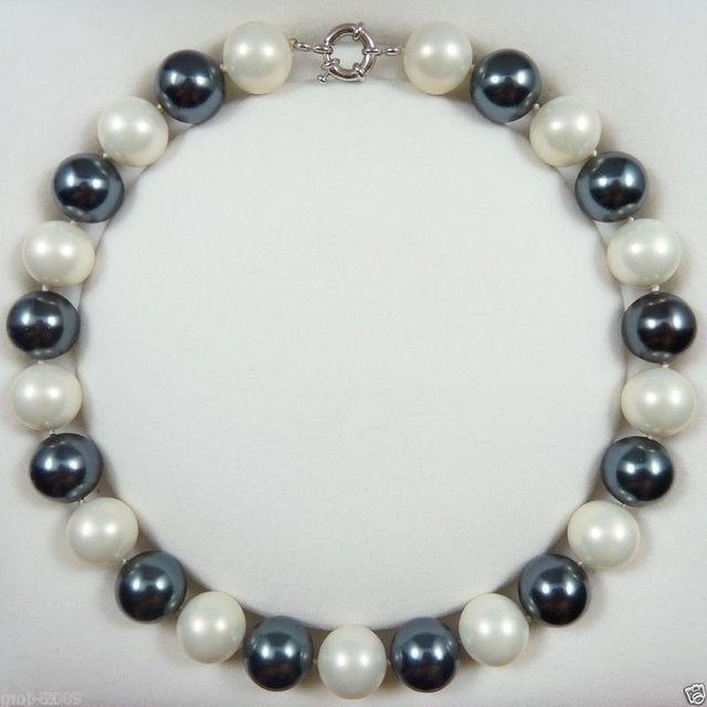Venda Hot new Style >>>>> Rare Natural 16mm Branco Sul Do Mar Negro Shell Pérola Redonda Beads Colar 18''