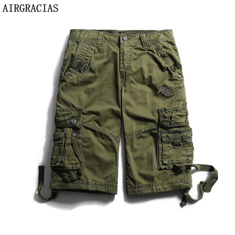 AIRGRACIAS Summer Mens Fashion Military Cargo Short Pants 100% Cotton Solid Color Multi-Pockets Loose Casual Cargo Shorts Pants