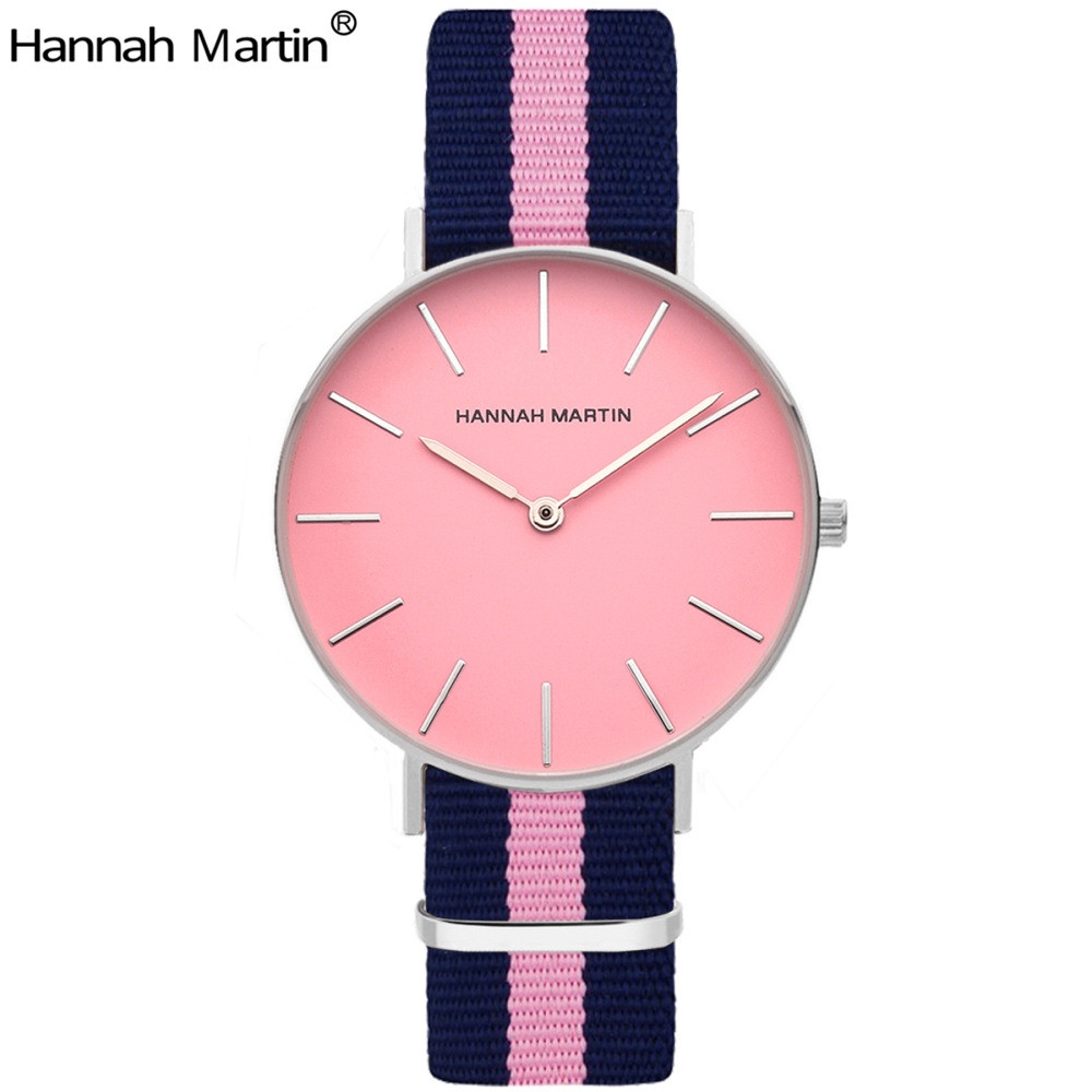 Top Luxury Nylon Watches Women Brand New Fashion Casual Leather Quartz Wristwatch Hannah Martin Relogio feminino Relojes Mujer relogio feminino quartz watch fashion watch women luxury dom brand leather strap watches ladies wristwatch relojes mujer 2017