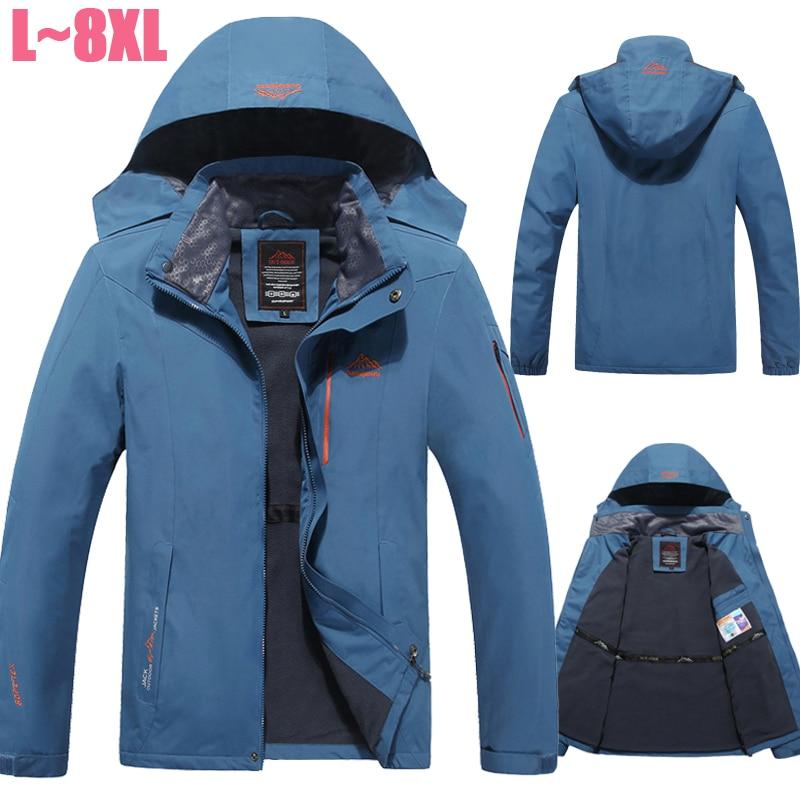 Plus Size 6XL 7XL 8XL Winter Jacket Men Velvet Brand Parka Jacket Men Waterproof Windproof Fleece Jacket Windbreaker Men CF018