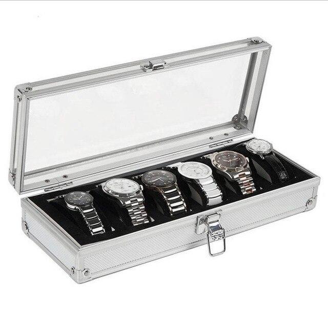 6 Grids/Slots Watch Box Display Aluminium Jewelry Box Jewelry Organizer Casket F