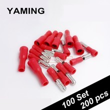 200pcs 100set/lot Red Female and Male Insulated Electric Connector Crimp Bullet terminal for 22~16 AWG Audio Wiring Plug Adapter
