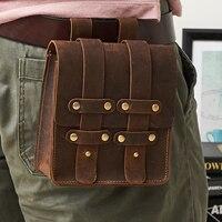 15x16CM Retro Men S Genuine Leather Handbag Waist Casual Bag A4248