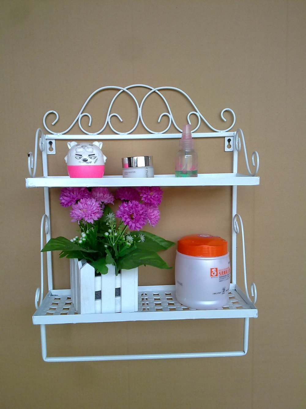 ... Free Shipping 2 Tier Iron Craft Wall Rack Vintage Shelf Bathroom Rack  Towel Bar Iron Decoration ...