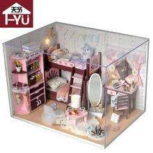Doll house furniture miniatura diy doll houses miniature dollhouse wooden handmade toys for children grownups birthday gift  TW5