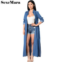 2017 New Long Sleeve Denim Cardigan Women Tops Casual Long Shirt Summer Kimono Fashion Loose High