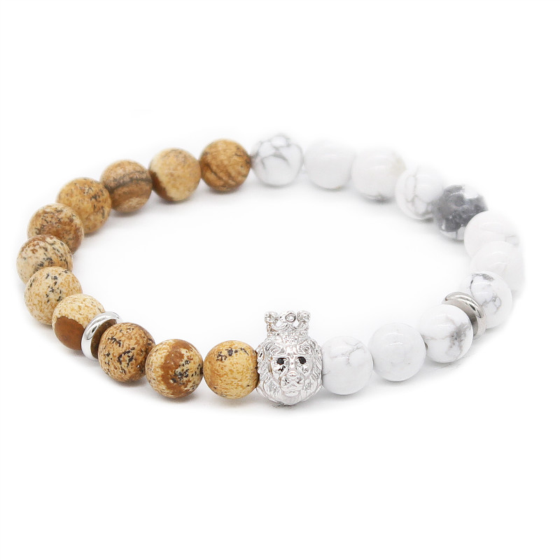 Poshfeel Fashion Silver Lion Head Bracelet For Men 8Mm Natural Stone Beads Bracelets Bangles Pulsera Mbr170353