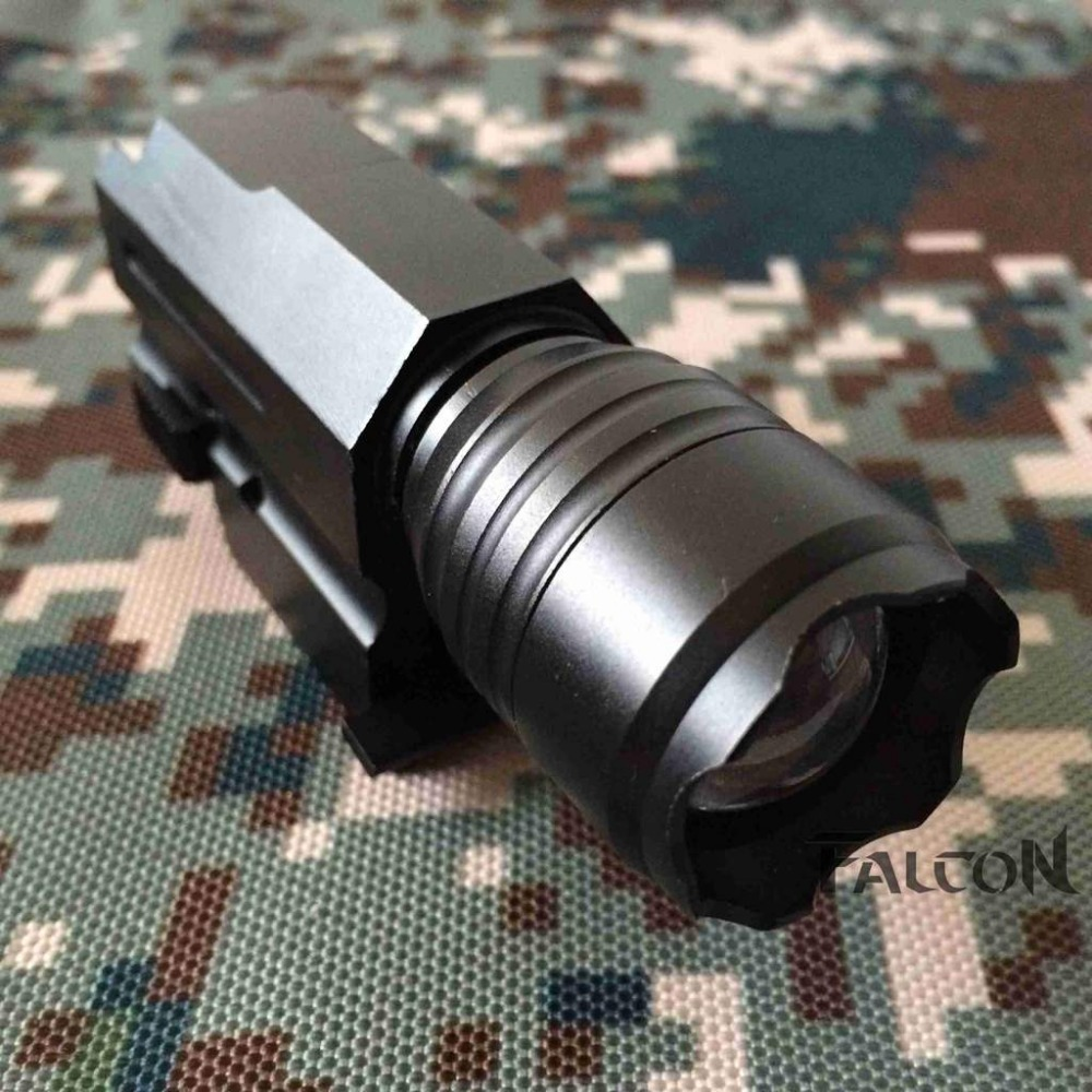 Free Shipping LED Gun Flashlight Torch Flash Light with Quick Release Weaver Mount for Pistols Airsoft