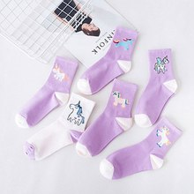 Korea Cute Cartoon Unicorn Women Socks Cotto Purple Funny Kawaii Animal Novelty Socks Rainbow Horse Contrast Color Socks(China)