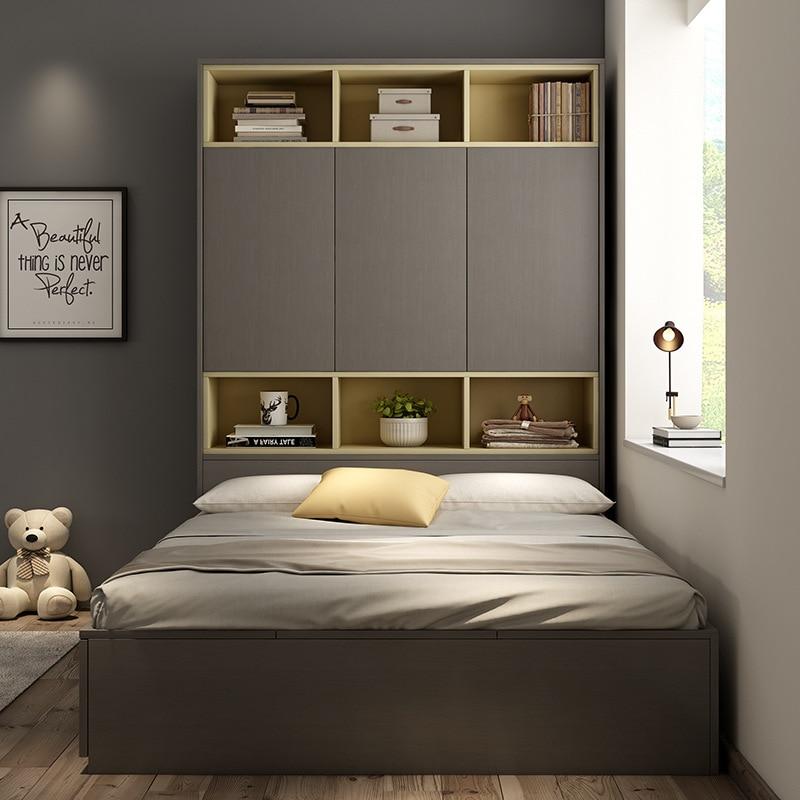 Nordic Modern Minimalist Plate Bed 1.2 M 1.5 M Tatami Bed Children Single High Box Storage Bed Princess Bed