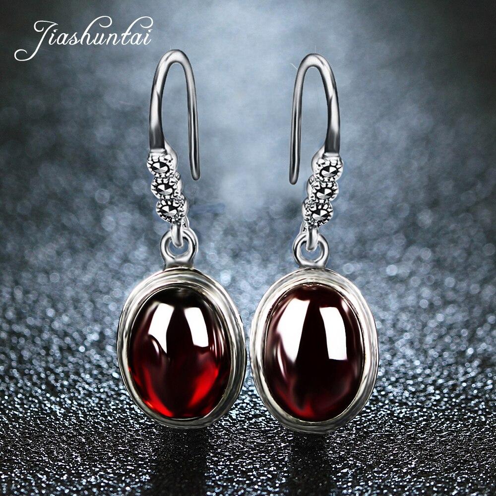 все цены на JIASHUNTAI 925 Sterling Silver Earrings for Women Vintage Round Earrings Retro Thai Silver Jewelry Female онлайн