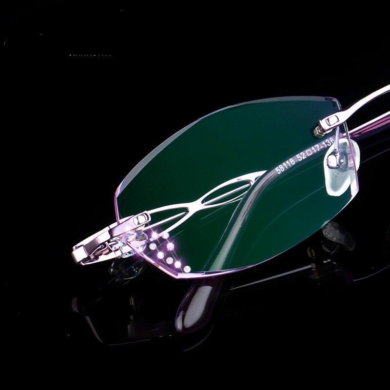 Luxuriöse Randlose Klar Presbyopie Rosa Lesebrille Brillen Hyperopie Frauen Weibliche Strass Hohe rgrFIq