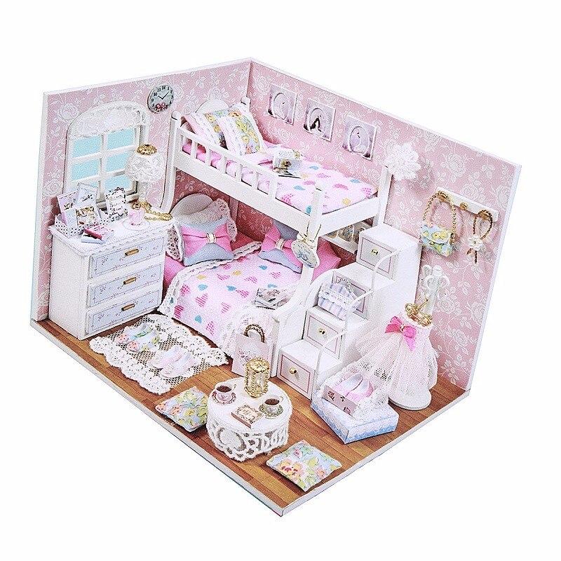 nueva llegada cuteroom diy kit de casa de muecas en miniatura con muebles de casa de