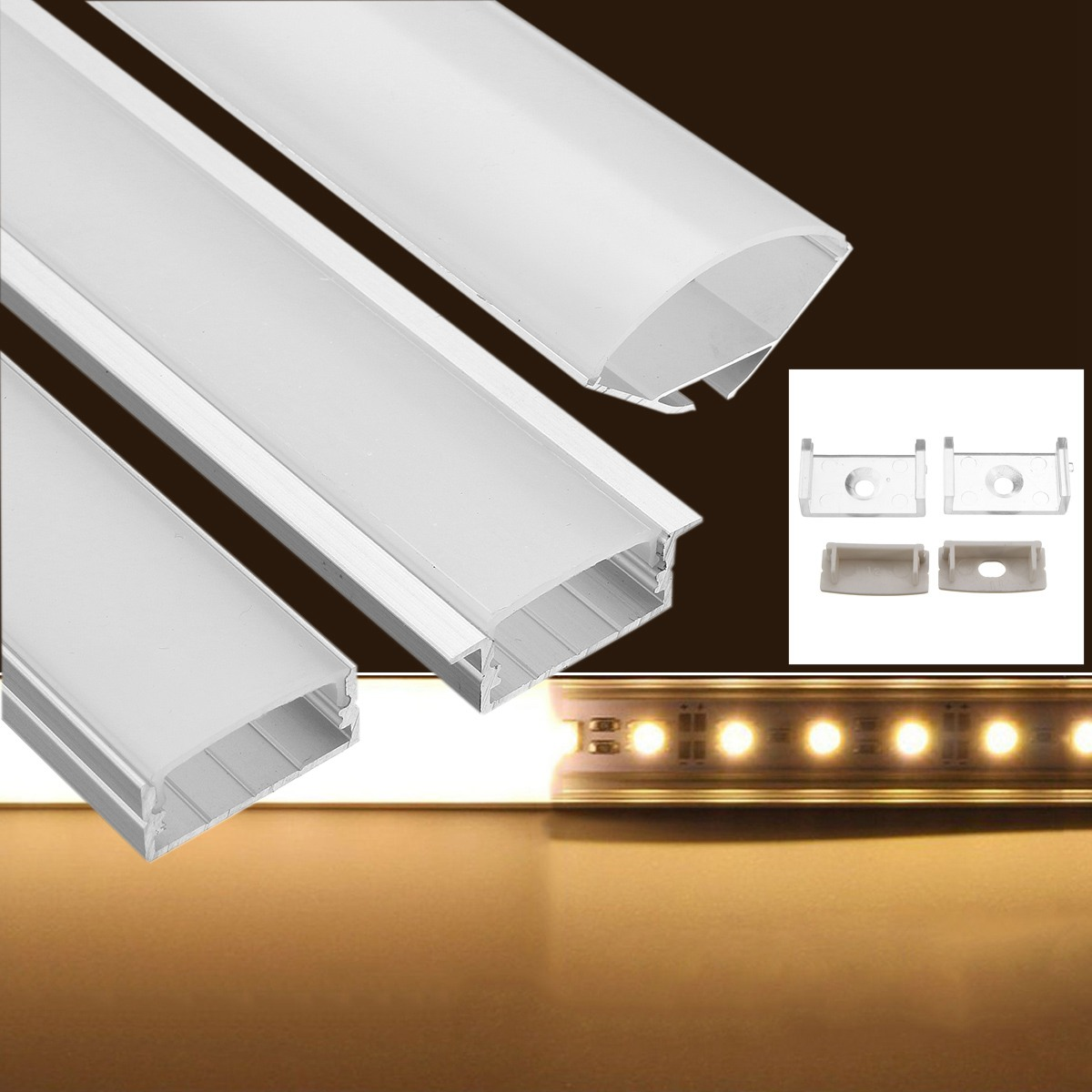 U/YW/V Shape Aluminium 50CM Channel Holder For LED Strip Light Led Bar Light Lamp With Cover Buckle