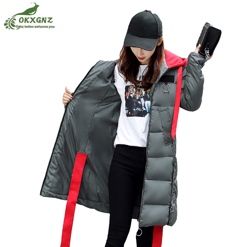 New winter Down cotton Outerwear female medium long high-end thicken jacket coat women large size warm cotton coat OKXGNZ AF338 winter jackets coats new down cotton jacket women parkas thicken hooded outerwear slim large size medium long female coat k616