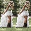 Vestido de novia Rhinestone Frisada Alta Baixa Vestidos de Casamento Organza Ruffled trouwjurk Praia Barato vestido de Noiva robe de soiree