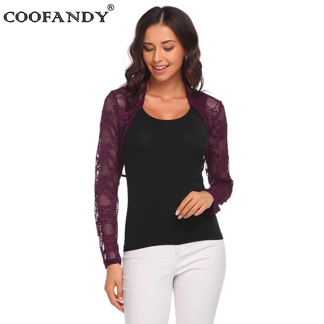 Shawl Casual Long Sleeve Lace Open Front Cropped Cardigan Short Women ...
