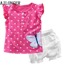 Girls Clothing Sets 2017 Fashion Summer Kids Clothing Sets Dot T-shirt+Short 2Pcs For Girls Clothes menoea 2017 brand new summer casual style kids clothing sets girls clothing sets t shirt short 2pcs for girls clothes