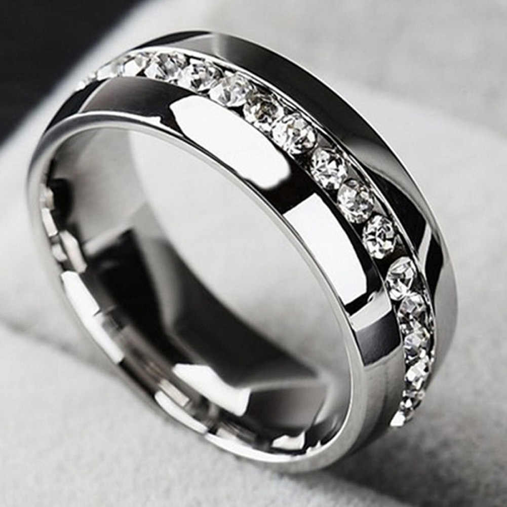 Single Row Zircon CZ Ring Stainless Steel Finger Rings Women Jewelry Wholesale Lots