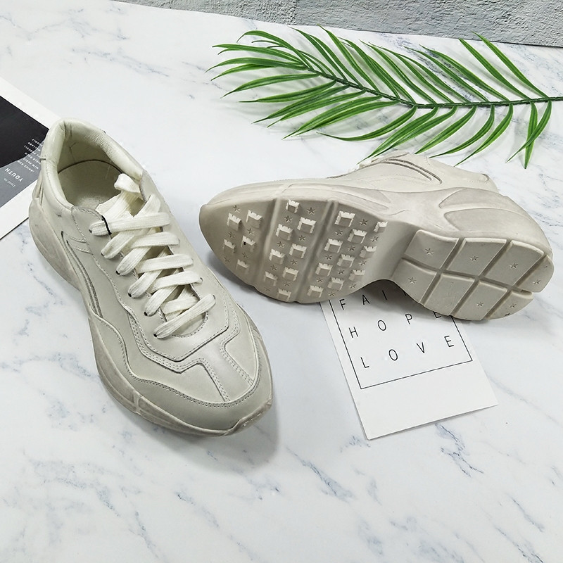 2019 Concepteur Pic Cuir Sneakers Plate Hauteur En Rétro Mujer Casual Chaussures Chaud Printemps Couple Croissante De Femmes As Appartements Couture Up Dentelle forme w4qxXBr4Cc