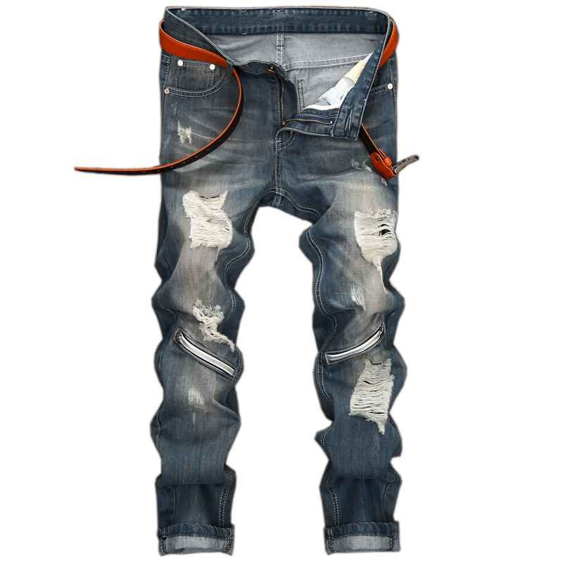 #1544 Ripped jeans for men Ankle zipper jeans Fashion Slim Punk jeans hombre Fake designer clothing Moto Denim Joggers Washed