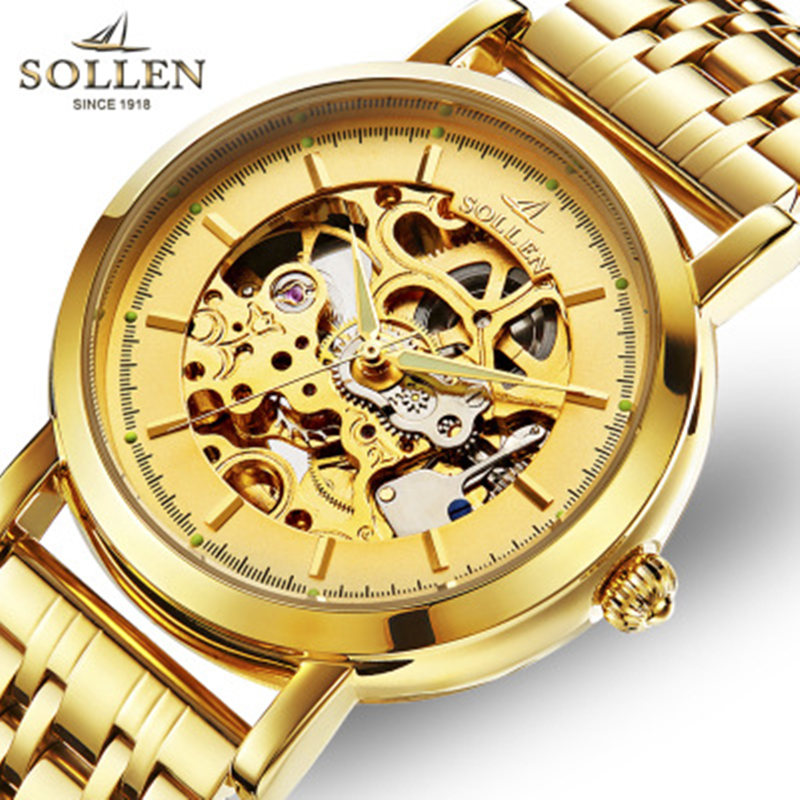 Relogio Masculino SOLLEN automatic mechanical watch male clock double-sided hollow waterproof steel men wristwatches orkina kc023 double sided hollow automatic mechanical men s wrist watch black silver coppery