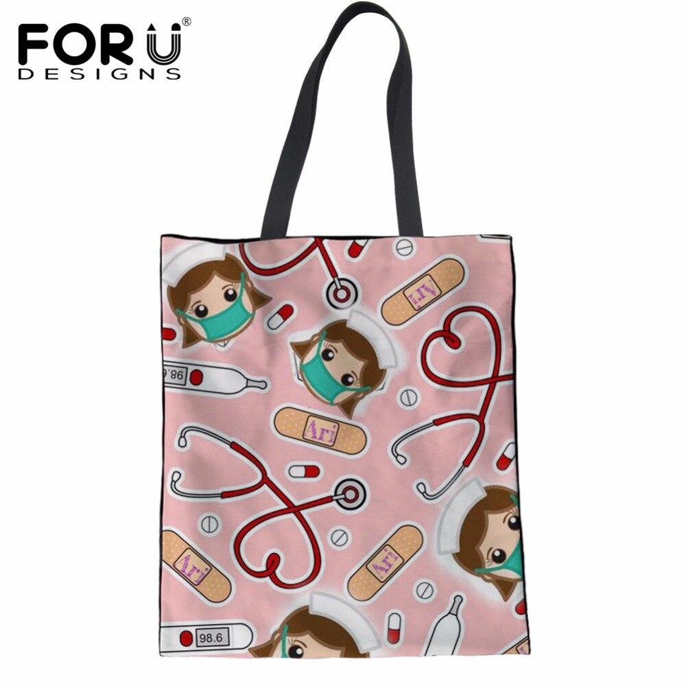 cartoon cute shopping bags bag nurse reusable pink print totes female eco forudesigns clothe designs shopper