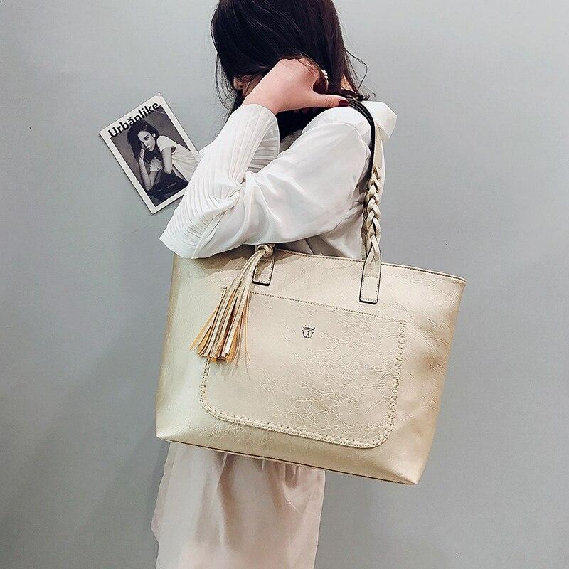 KMFFLY Women Bags Big Bags Women Vintage PU Tassel Shoulder Bag Female Retro Daily Causal Totes Lady Elegant Shopping Handbag