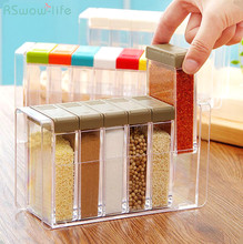 6pcs Transparent Plastic Condiment Box For Kitchen Articles Material PP PS Rectangle Removable Seasoning Pot kichen Combination все цены
