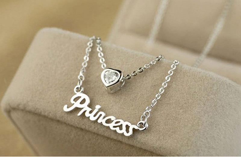 15Pcs/lot Women Letter Princess Love Heart Zircon Pendant Double Layer Chain Necklaces & Pendants