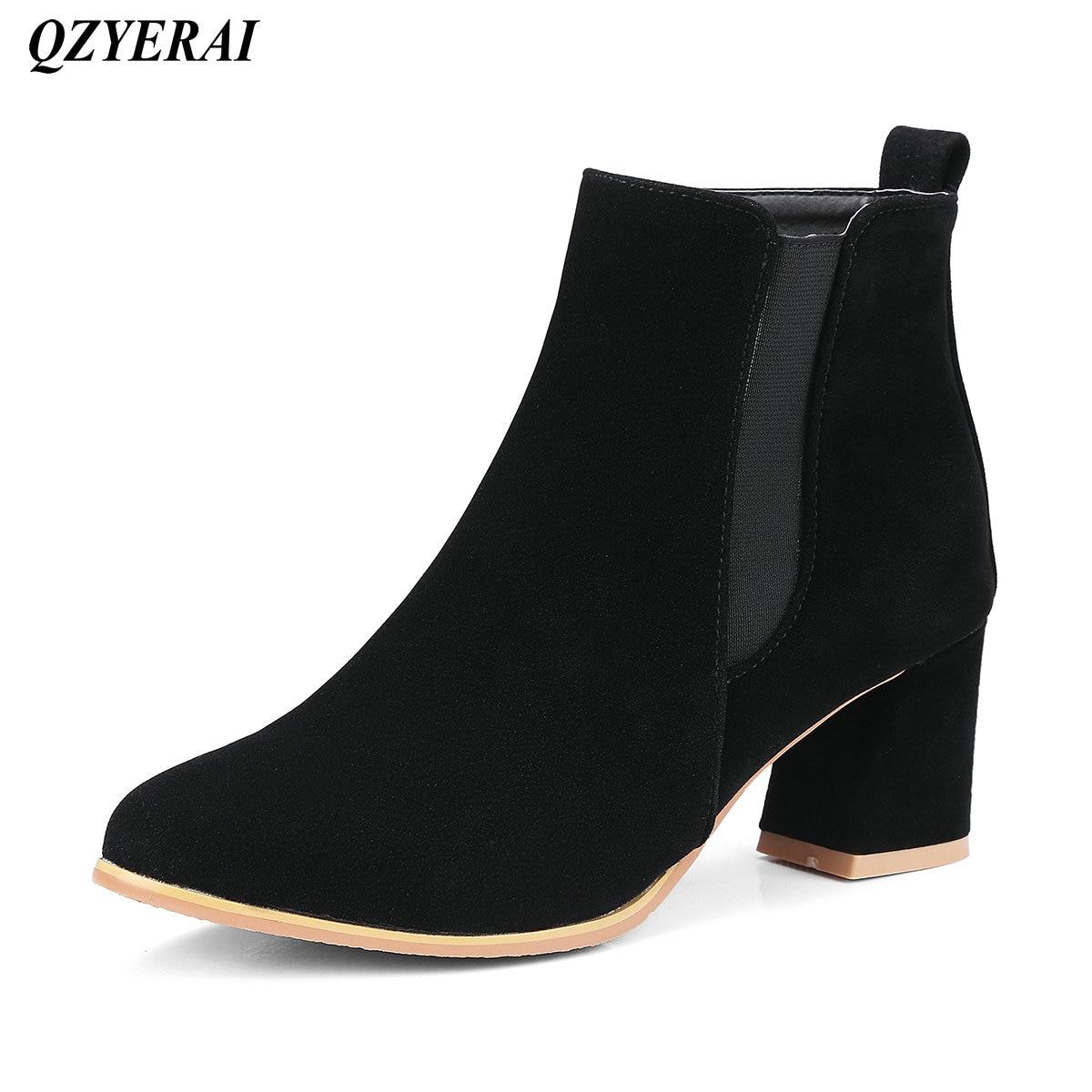 QZYERAI Autumn winter madam coarse heel Martin boots font b womens b font boots fashionable font