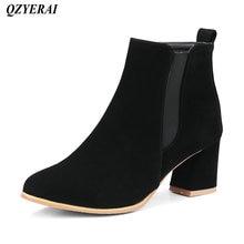QZYERAI Autumn winter madam coarse heel Martin boots womens boots fashionable womens shoes leisure