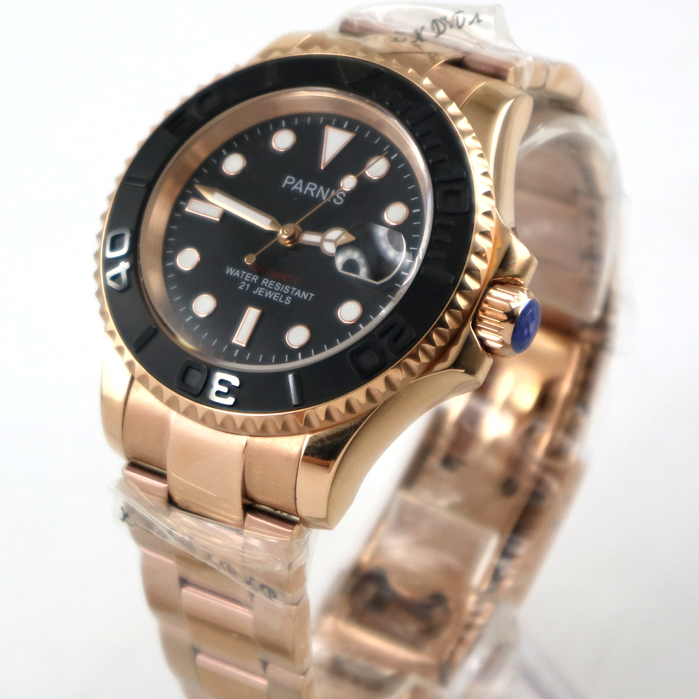 41mm Parnis black dial Sapphire rose golden case miyota automatic mens watch 41mm Parnis black dial Sapphire rose golden case miyota automatic mens watch