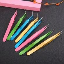 2 Pcs/1 set Gerade & Gebogene Pinzette Zangen Falschen Wimpern Verlängerung Edelstahl Spitz Clip Nail art Zangen make-up-Tools