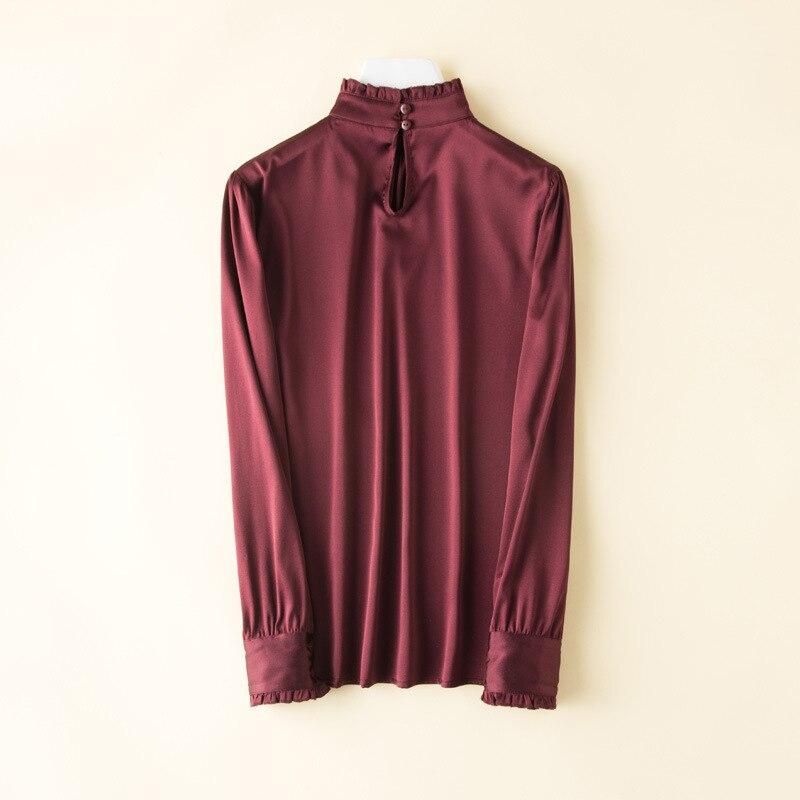 Frauen Natur Seide Elastische Satin Shirts 2019 Frühjahr Neue Langen Ärmeln T Elegante OL Seide Shirts Luxus Shirts Casual Tee - 2