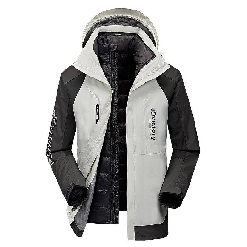 AFS JEEP Russie Hiver veste hommes coupe-vent imperméable blanc duvet de canard veste manteau thermique bas doublure amovible pardessus