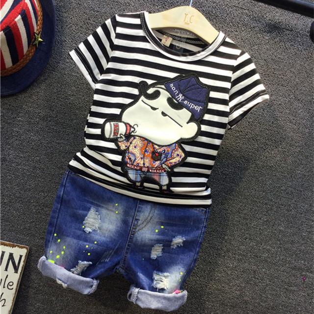 Moda de verano 2016 niño niños impresión de la historieta ropa rayado Shirt + Jeans ropa de los muchachos de los cabritos arropan 2 unids Set 2-7Y