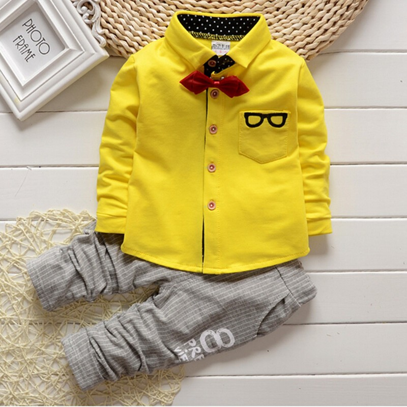 BibiCola 2017 Small Gentleman clothing sets Spring Autumn clothes suit baby boys Glasses cardigan yellow uniform formal clothing bibicola spring autumn baby boys clothing set sport suit infant boys hoodies clothes set coat t shirt pants toddlers boys sets