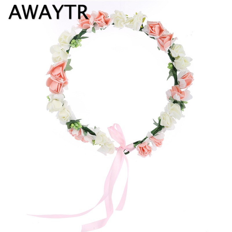 Ny blomma Crown Bröllop Hår Tillbehör Bride Girls Headwear Hårband Justerbart Headband Women Flower Wreath for Party