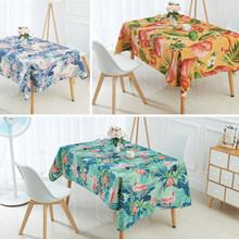 Nordic stil Tier flamingo tischdecke Tropical palm tree leaves leinen Tisch tuch manteles para mesa rectangulares wasserdicht(China)
