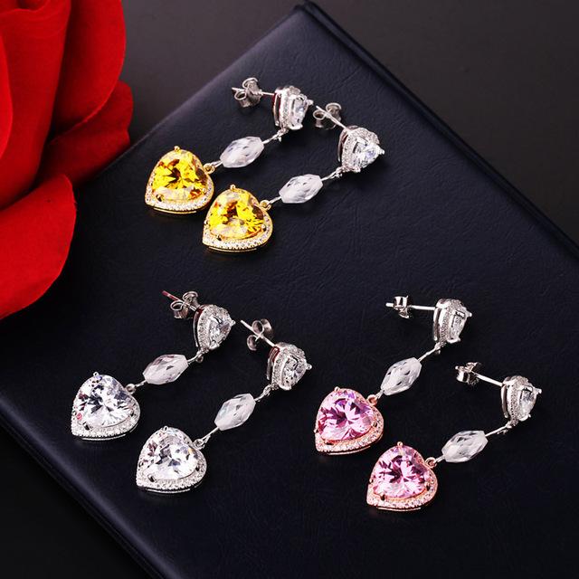 Moda 925 Brincos da Prata Esterlina Pavimentar Branco Rosa Coração de Cristal Brinco para As Mulheres Oriharcon CZ Ear Jóias Partido Discotecas