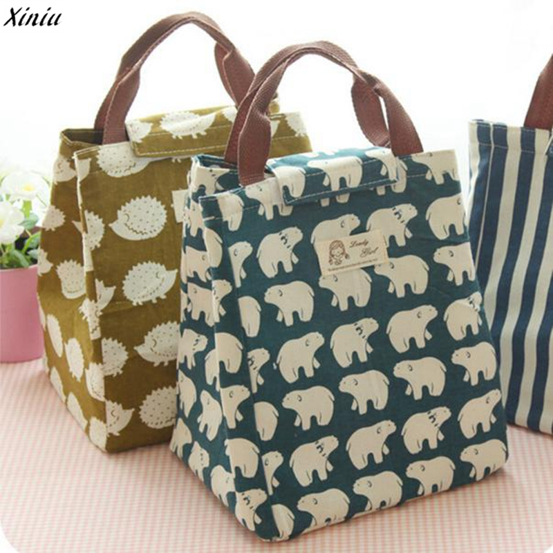 2017 Waterproof Lunch Bag for Women kids Men Cooler Lunch Box Bag Tote  canvas lunch bag Insulation Package Portable pink floral towels