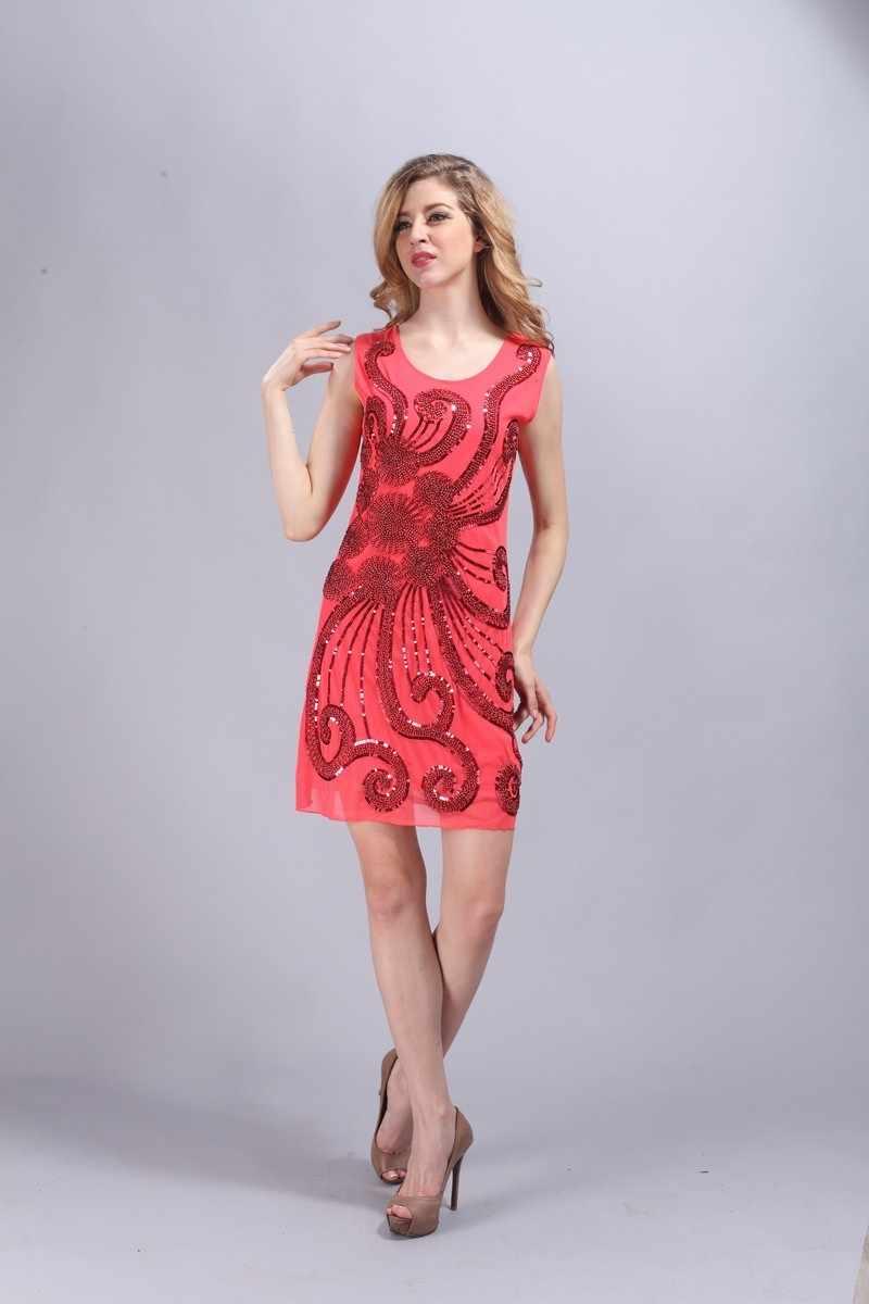 fdb5f6ba85f ... Retro Sequined Women 1920s Gatsby Flapper Sequin Sleeveless Mini Party  Dress Vintage Ladies Party Slim Tank ...