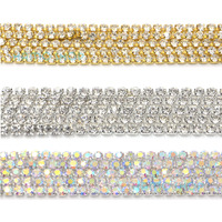 10 Metres Lot 3mm Silver AB Gold Crystal Rhinestone Close Chain Trimming Applique Sewing