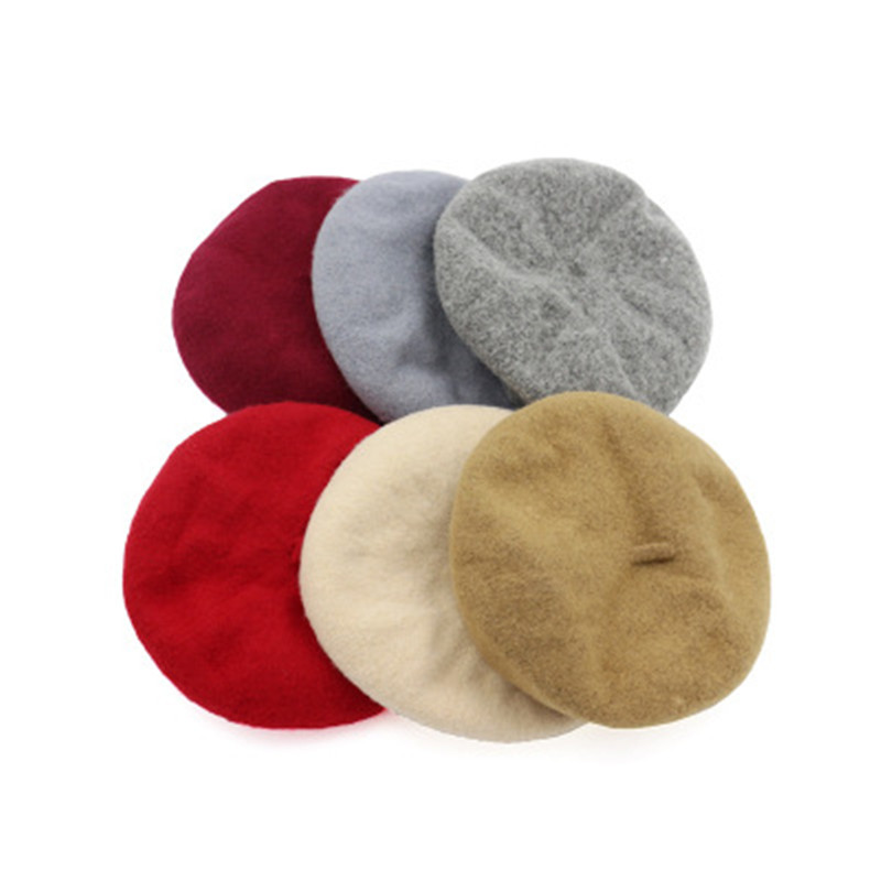 Free pp Lady Spring Winter Berets Hat Painter Style Women Wool Vintage Berets Solid Color Caps Female Bonnet Warm Walking Cap